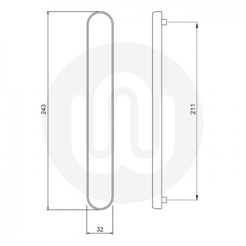 Simplefit by Fab & Fix 92mm Door Handle Blanks with Blind Plate - Medium Cover (243mm)