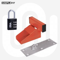 Simplefit Garage Door Defender Heavy Duty 150mm with ERA Black Combination Padlock Kit