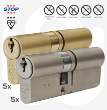 3 Star STOP Security Euro Cylinder - Pack of 10 Mixed - With 5 Keys per Cylinder