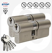 3 Star STOP Security Euro Cylinder - Keyed Alike Pair - With 5 Keys