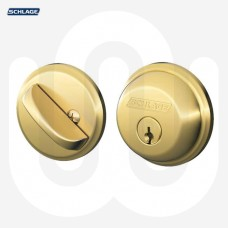 Schlage Single Cylinder Bright Brass Deadbolt