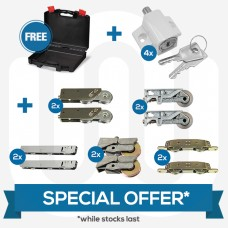 SPECIAL OFFER! 10x Mixed Pairs Of Patio Wheels + 4x White Push Button Patio Door Locks + Free Case