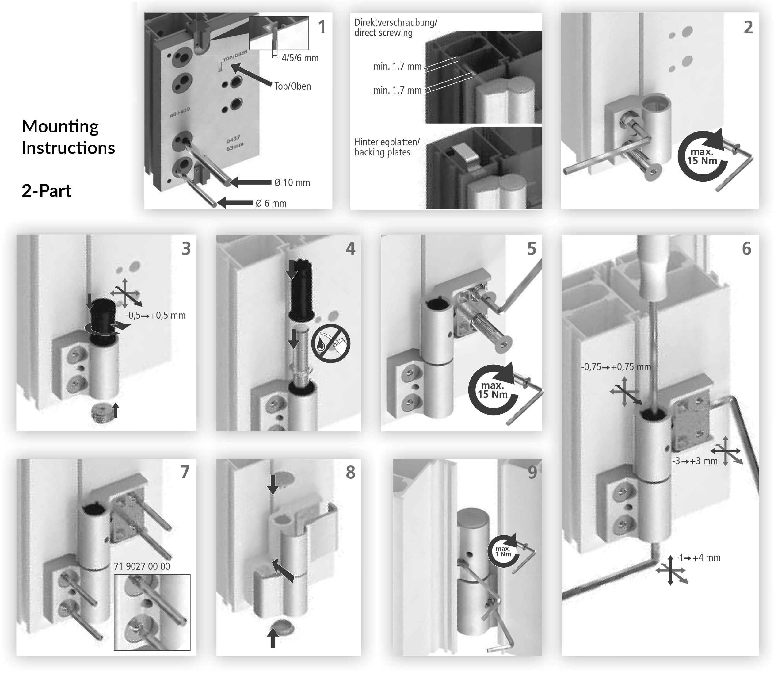 Simplefit 2 Part Aluminium Door Hinge